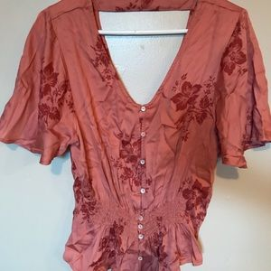 Billabong pink floral blouse